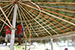 Building the service bar area in pool palapa.